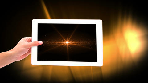 Digital animation of woman holding digital tablet showing illuminated lights 4k Animation