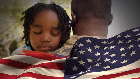 Digital animation of American soldier embracing his daughter after home returning 4k Animation
