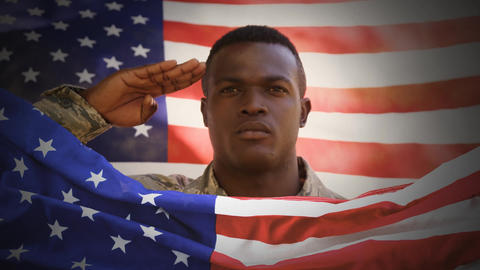 Digital animation of American soldier saluting against swaying American flag 4k Animation