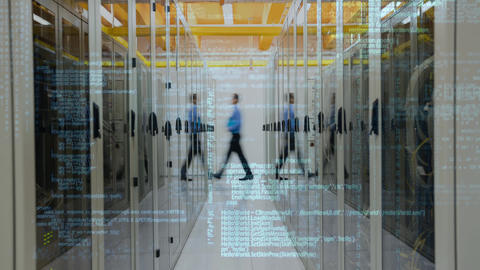 Server Room and blue data in motion Animation