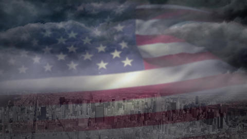Digital animation of American flag swaying in the sky 4k Animation
