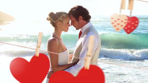 Wedding of young couple on beach Animation