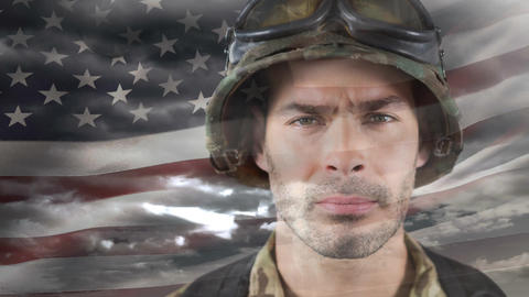 Digital animation of Proud American soldier against American flag 4k Animation
