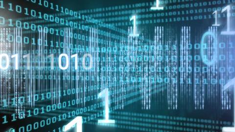 Conceptual digital animation showing binary technology code 4k Animation