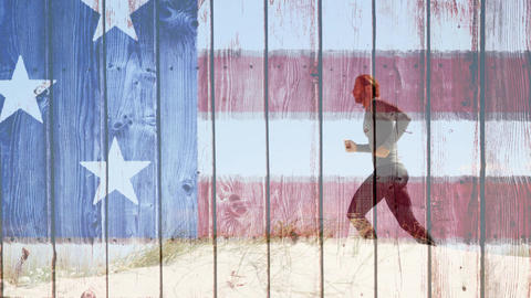 Man running with american flag made of wood Animation