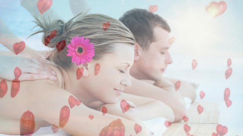 Couple having massage at spa for valentine day Animation