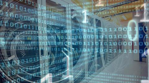 Server room with binary code Animation