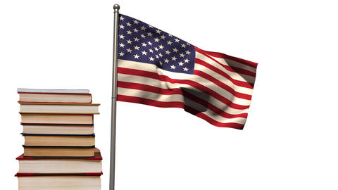 American flag with books Animation
