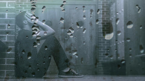 Digital animation of worried man in corridor 4k Animation