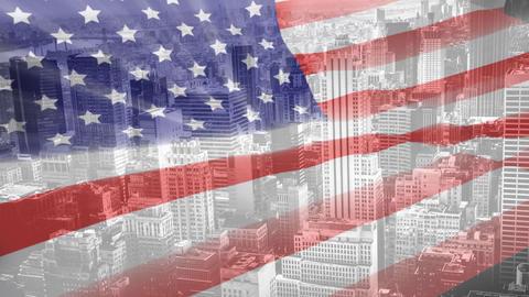 Digital animation of American flag swaying 4k Animation