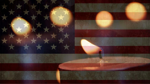 American flag with candles in the background Animation