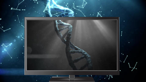 Digital animation of DNA model on the computer monitor display 4k Animation