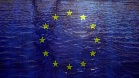 European flag with water flowing in the background Animation