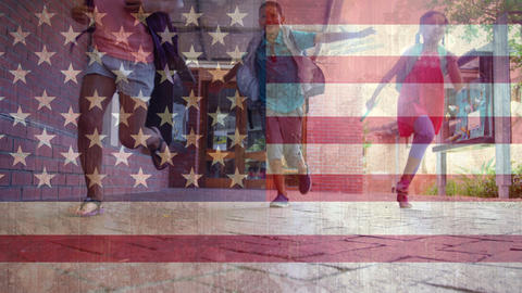 American flag with children running Animation