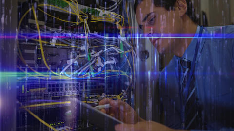 Man working in Server Room and blue matrix data Animation