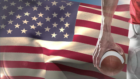 Digital animation of Rugby player standing with rugby ball against American flag 4k Animation