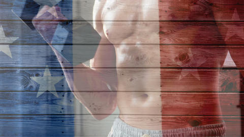 French flag with stars showing attractive shirtless man working out Animation