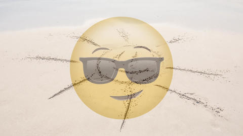 Smiley with sun drawn in beach Animation