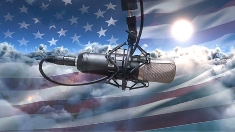 American flag with microphone Animation