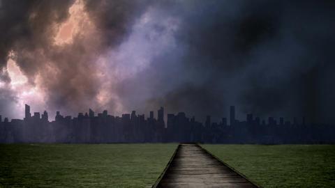 Lightning against city skyline Animation
