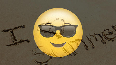 Yellow Smiley with text on beach Animation