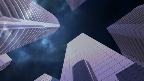skyscrapers with lightning Animation