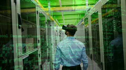 Businessman using VR with server and data Animation