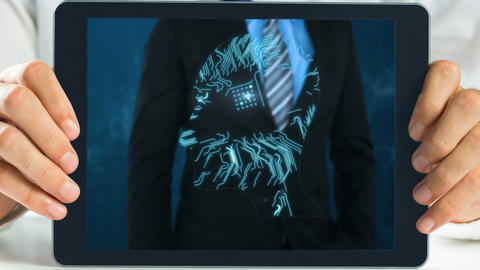 Tablet showing Businessman Animation