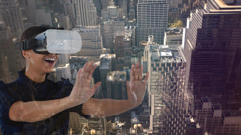 Woman using VR in New York city Animation