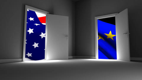 Digital animation showing American flag and European flag through the open doors 4k Animation