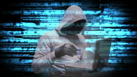 Digital animation of hooded hacker using the laptop 4k Animation