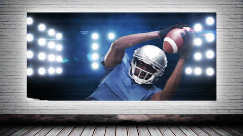 Football player catching ball Animation