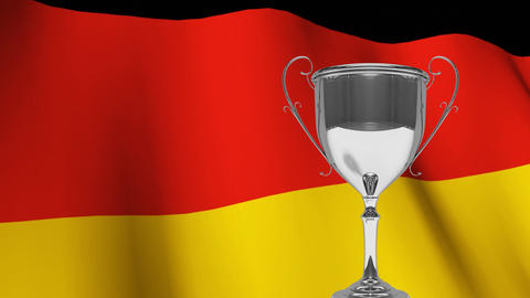 Trophy in front of waving German flag Animation