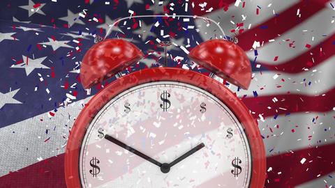 Digital animation of alarm clock against swaying American flag 4k Animation