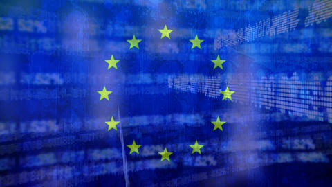 Flag of the EU and digital codes Animation