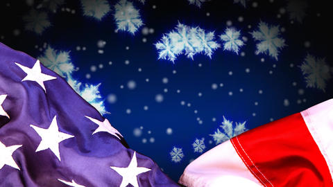 Digital animation of American flag and snowflakes 4k Animation