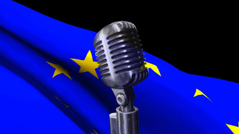 Flag of the EU and classic microphone Animation