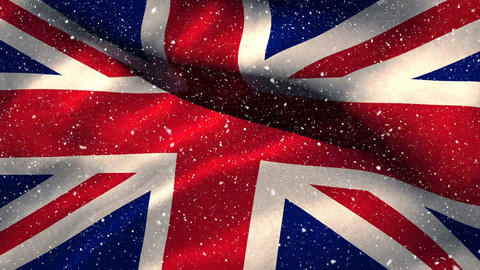 Flag of the UK and snow Animation