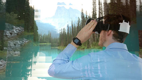 Man using VR with forest landscape Animation