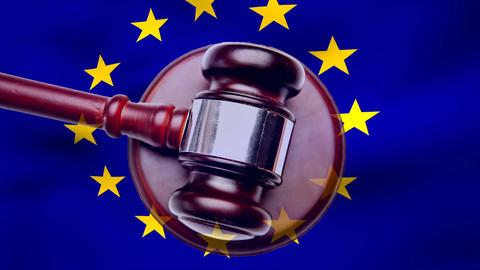 European union flag with judge gavel Animation