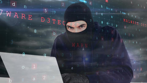 Digital animation of hacker in black clothes hacking the laptop in data center 4K Animation