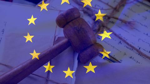 European union flag with judge gavel on documents Animation