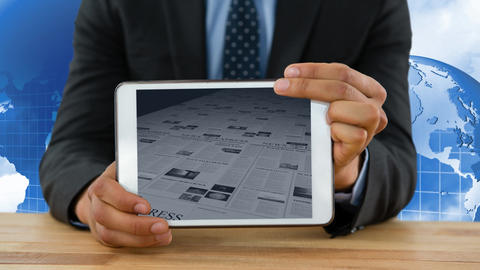 Digital animation of business newspaper being scrolled on the digital tablet screen 4k Animation