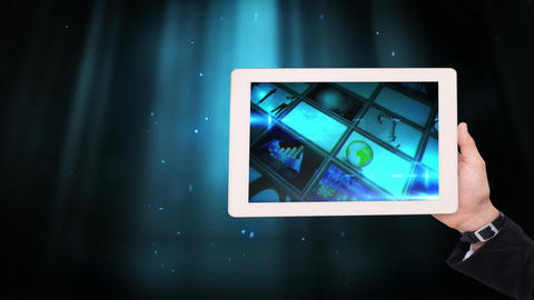 Digital animation of frames of business graphics displayed in tablet 4K Animation