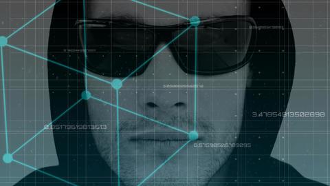 Digital animation of hacker in sunglasses 4k Animation