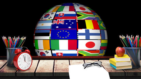 Spinning multinational Globe and school supplies Animation