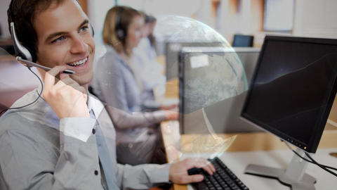 man working in Callcenter Animation