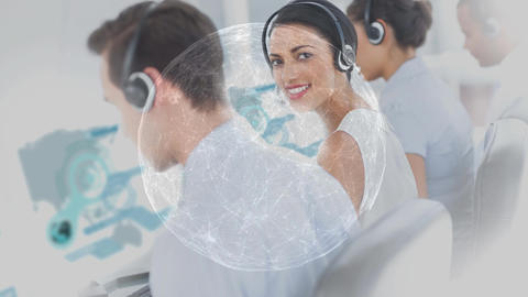Smiling woman working in Callcenter Animation