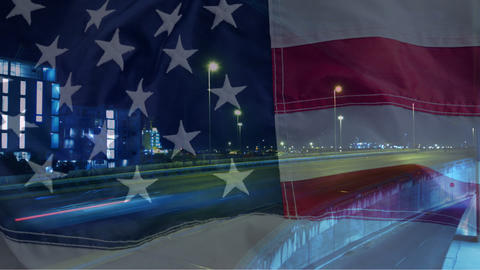 Time lapse of cars against American flag Animation