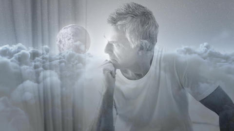 Digital animation of worried man looking through window 4k Animation